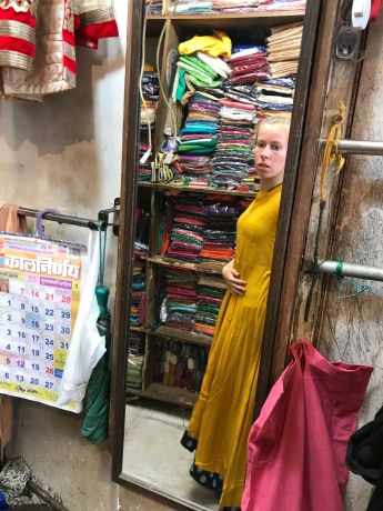 Shopping in Delhi is good, but only if you are a skilled bargainer. I didn't buy this dress as they wouldn't bargain (and it was a bit too big).